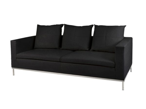 Cosa 3 Seater Lounge - Black-0
